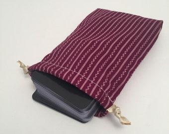 Stripes & Vines Tarot Pouch, drawstring bag, small, cotton bag, maroon, polka dots, striped