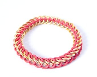 Kids Red and Gold Stretch Bracelet, Iron Man Geek Chainmaille Bracelet, Fun Teen Jewelry, Marvel Avengers Comic