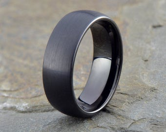 Tungsten Wedding Band, 8mm, Black Wedding Band, Mens Wedding Band, Engraving, Anniversary, Brushed, Polished inside, Mens Ring, His Hers