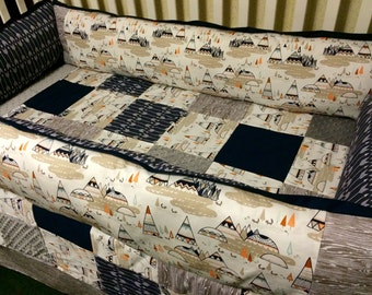 Arrows and Teepee Custom Baby Bedding- Navy arrows-Aztec-tribal crib bedding- baby boy bedding
