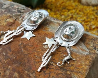 Sterling Silver Cowgirl Bling Cowgirl  Hat Earrings with Cactus, Star, and Lizard Dangles