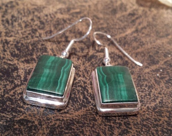 Sterling silver malachi drop earrings