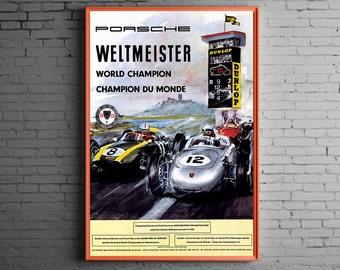 Porsche 1960 World Champions Weltmeister ( Vintage racing art print )