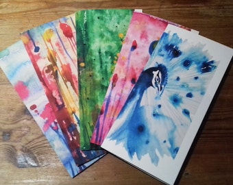 Handmade watercolours cards, set of 5