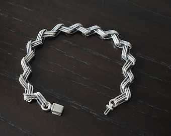 Mens .925 Sterling Silver Chain Link Picasso bracelet handmade.
