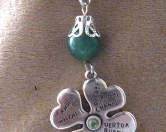 clover pendant has four leaves luck aventurine