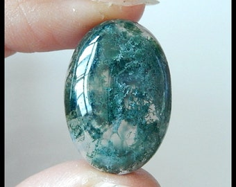 Moss Agate Cabochon - OV/CAB -Ring Cab - Natural Moss Agate Pendant Cab - 25x18x7 MM
