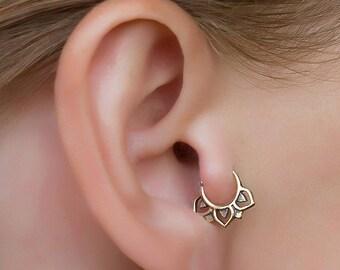 Tribal tragus earrings. helix piercing. daith earring. gold helix earring.