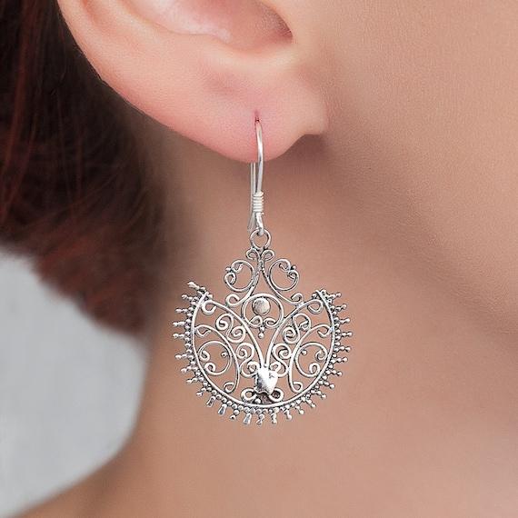 Hand made Filigree earrings. everyday earrings. statement earrings. long earrings. sterling silver ethnic earrings.