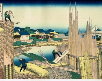 "Japanese Ukiyo-e Woodblock print, Katsushika Hokusai, ""Tatekawa in Honjo, from the series Thirty-six Views of Mount Fuji"""