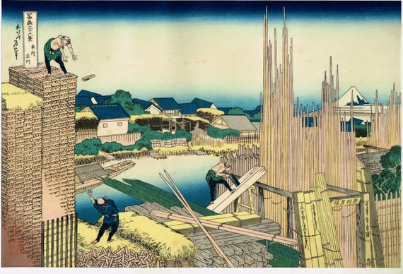 "Japanese Ukiyo-e Woodblock print, Katsushika Hokusai, ""Tatekawa in Honjo, from the series Thirty-six Views of Mount Fuji"""