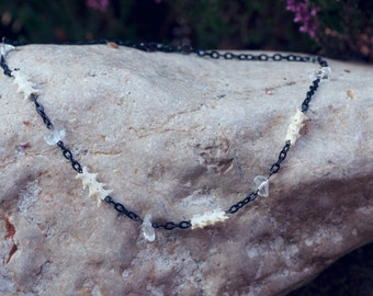 Snake vertebra crystal black chain necklace