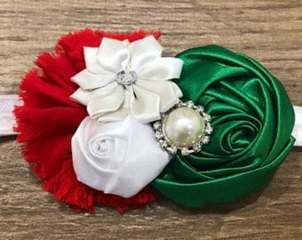 Red white and green floral headband