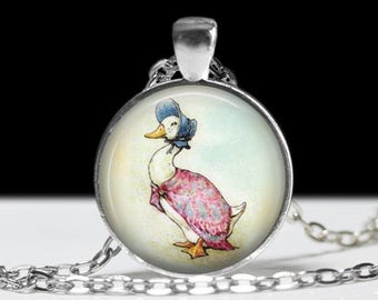 Jemima Puddle Duck  Beatrix Potter Necklace Beatrix Potter Keychain