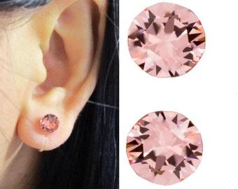 Peach Crystal Clip-on Earrings |C4s| Stud Swarovski Rhinestone Clip Earrings Non Pierced Metal Free Clip-ons Bridal Wedding Clip on Earring