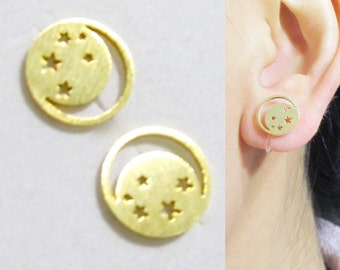 Clip-on Stud Earrings 17E Brushed gold Stud Clip on earrings Star Crescent Half Moon Clip on earring Non Pierced earrings, Clip-ons, clipons