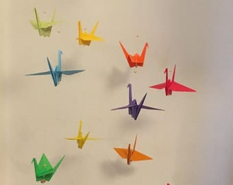 Mobile - cranes in Rainbow colors flying origami