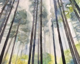 Pine trees, watercolor trees, forest painting, forest watercolor, Misty pines, pine tree painting, Misty forest, tree painting, Misty trees
