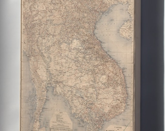 Canvas 24x36; Map Of Vietnam Laos Cambodia In French  1895