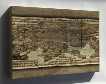 Canvas 24x36; Birdseye Map Of Baltimore Maryland 1869