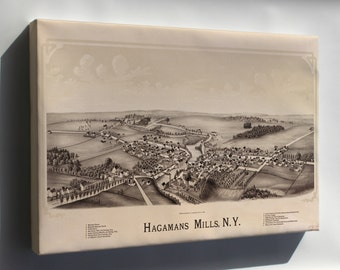 Canvas 16x24; Map Of Hagamans Mills, New York 1890