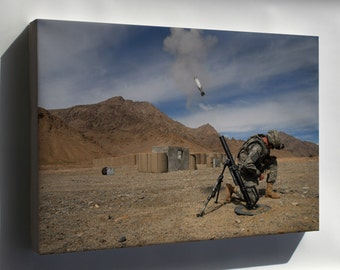 Canvas 16x24; 60Mm Mortar Round Being Launch