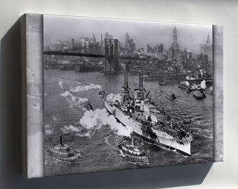 Canvas 16x24; Uss Arizona On The East River In New York City Near The Brooklyn Bridge On Its Way To Sea Trials. 1918