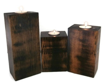 Walnut Stain Wood Candle Holder Sets with Tea Lights-3 Pc Set of Rustic Candle Holders for Your Rustic Home Decor-Pallet Wood Candleholder