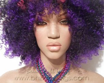 Full cap kinky curly black pink purple wig short wig Partii wig natural hair wig rihanna wig Nicki Minaj wig Gaga wig drag queen wig