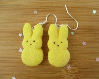 Yellow Bunny Peeps Earrings, Easter,  Handmade Polymer Clay Kawaii