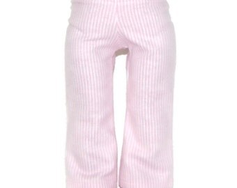 """Pink & White Stripe Flannel Pajama Bottoms - Doll Clothes fits 18"""" American Girl Dolls"""