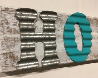 Home Sign/Love Sign/Teal/Metal/Wood/Reclaimed/Barnwood
