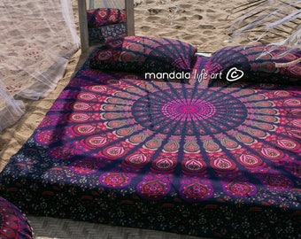 Decor For Bohemian Bedroom, Bed Throw Gift, Mandala Bedspread, Hippie Boho Bedding, Queen Size Sheets