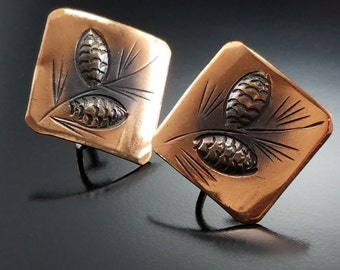Vintage Stuart Nye Pine Cone Earrings Copper Figural Sterling Screw Backs