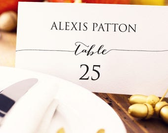 Wedding Place Card Template, Editable Instant Download, DIY Bride, Custom Personalized Seating Card, Escort Card, Wedding Printable