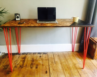 OSB desk with red steel hairpin legs and chalk board zone