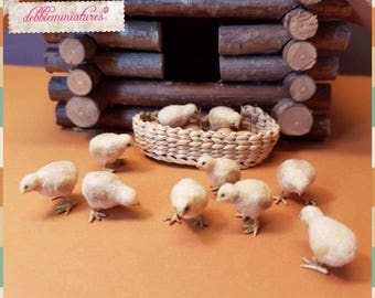 OOAK Realistic Miniature 1:12th Scale Chicks 2 pieces Dollhouse Hen Chicken Farm