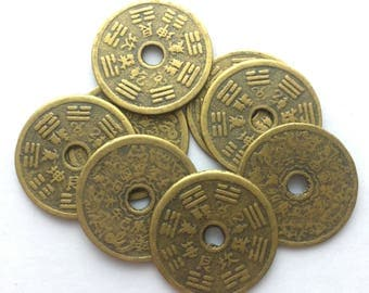 Feng Shui Bagua Astrology 23mm Brass Coins, 8 pieces