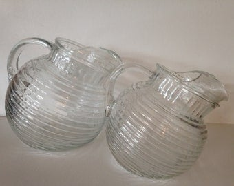 Manhattan Pattern Ribbed Tilt Pitcher. Set of 2 Ribbed Pitchers Small and Large
