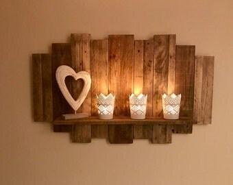 Reclaimed wood decorative floating shelf