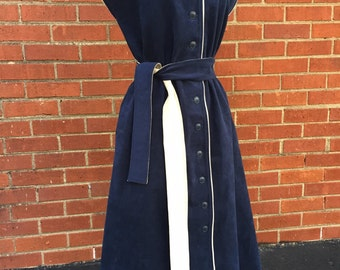 Vintage Navy blue button dress/60s/70s/velveteen/Medium