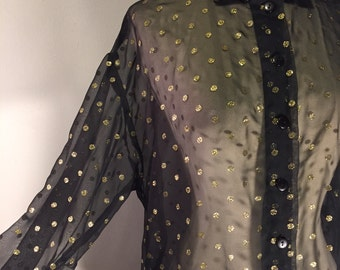 Vintage sheer black and gold polka dot blouse/button down/Size: