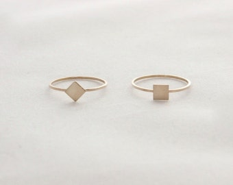Mini Square Ring // Diamond Ring // Sterling Silver or 14k Gold Filled