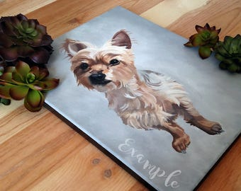 Custom pet portrait, original acrylic painting on canvas