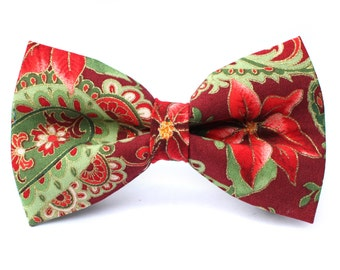 Poinsettia Bow Tie | Christmas Bow Tie | Christmas Bow Tie for Boys | Christmas Bow Tie for Dog | Christmas Bow Tie for Men | Gift for Him