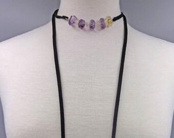 Genuine Ametrine Choker & Lariat Necklace