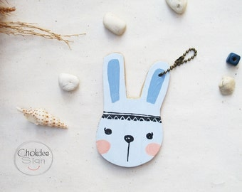 Rabbit hand painted wood key chain or mini wall hanging ,ornament