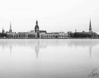 Cityscape print, skyline, urban photography, black and white photography, minimalist, monochrome, fine art photography, Riga, city skyline