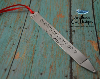 custom teacher's bookmark, pencil bookmark, custom teacher's gift, teacher's gift, gift for teacher, christmas gift for teacher