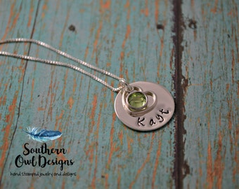 Stamped Circle Necklace, Heart necklace, personalized stamped necklace, stamped jewelry